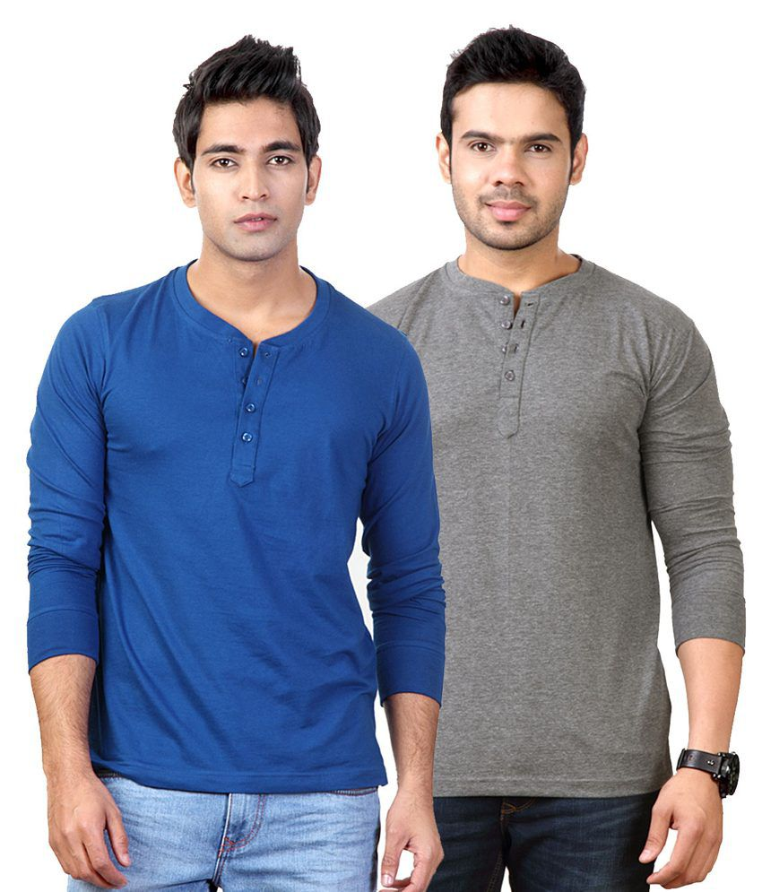 Entigue Royal Blue & Dark Grey Henley T-shirt Combo (Pack of 2)