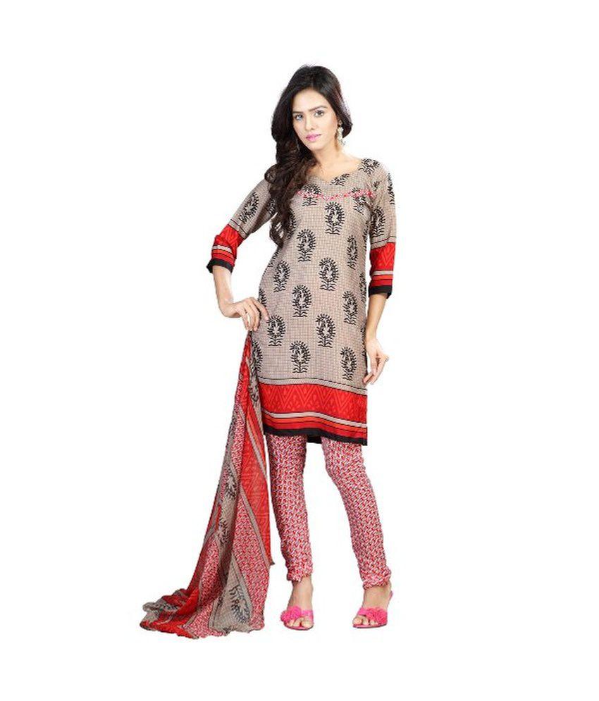 Rudra Fashion Gray Chiffon Semi Stitched Salwar Suit