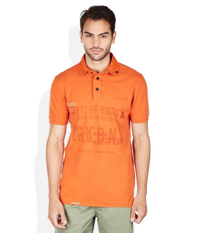 Breakbounce Orange Polo Neck T Shirt Buy Breakbounce