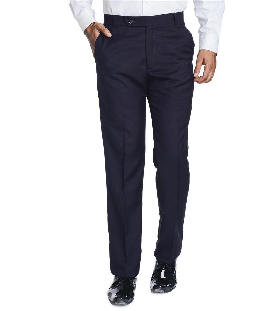 Richi Rich Mens Wear Blue Regular Formal Trouser