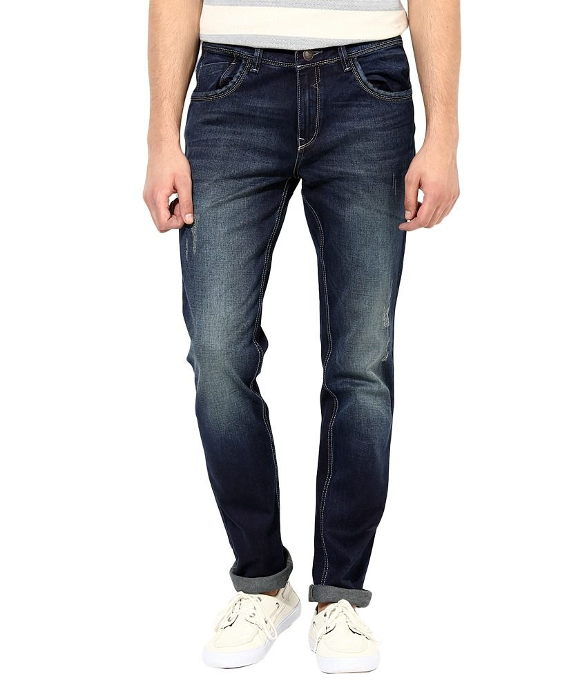 Richlook Blue Cotton Faded Slim Fit Jeans