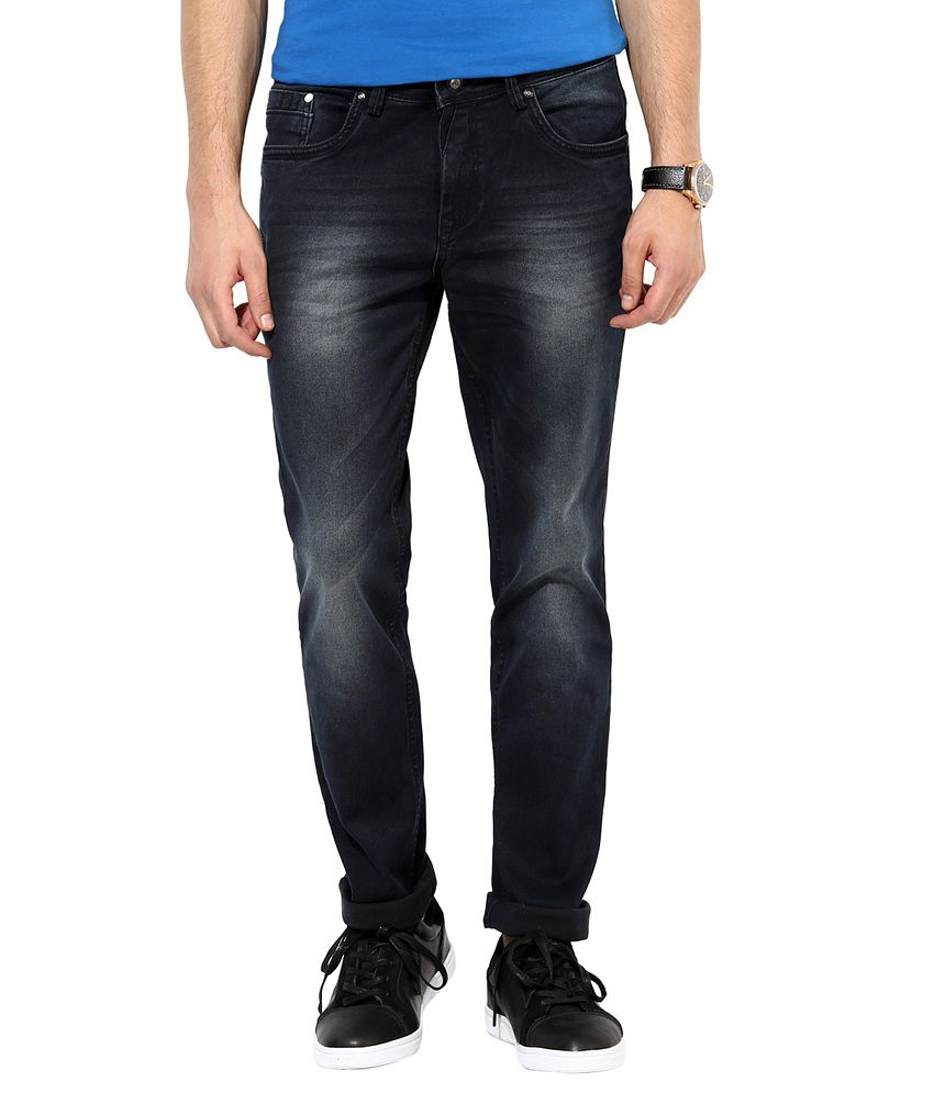 Richlook Navy Cotton Faded Slim Fit Jeans
