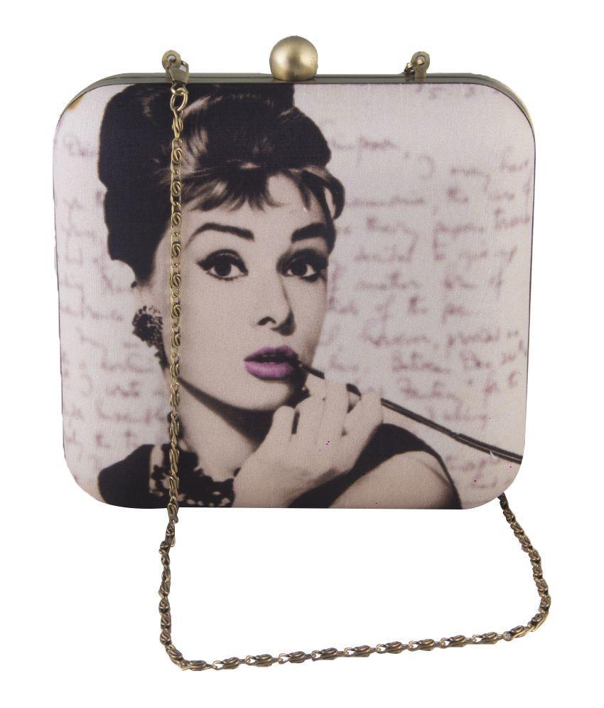 The Purple Sack White Silk Audrey Hepburn Clutch