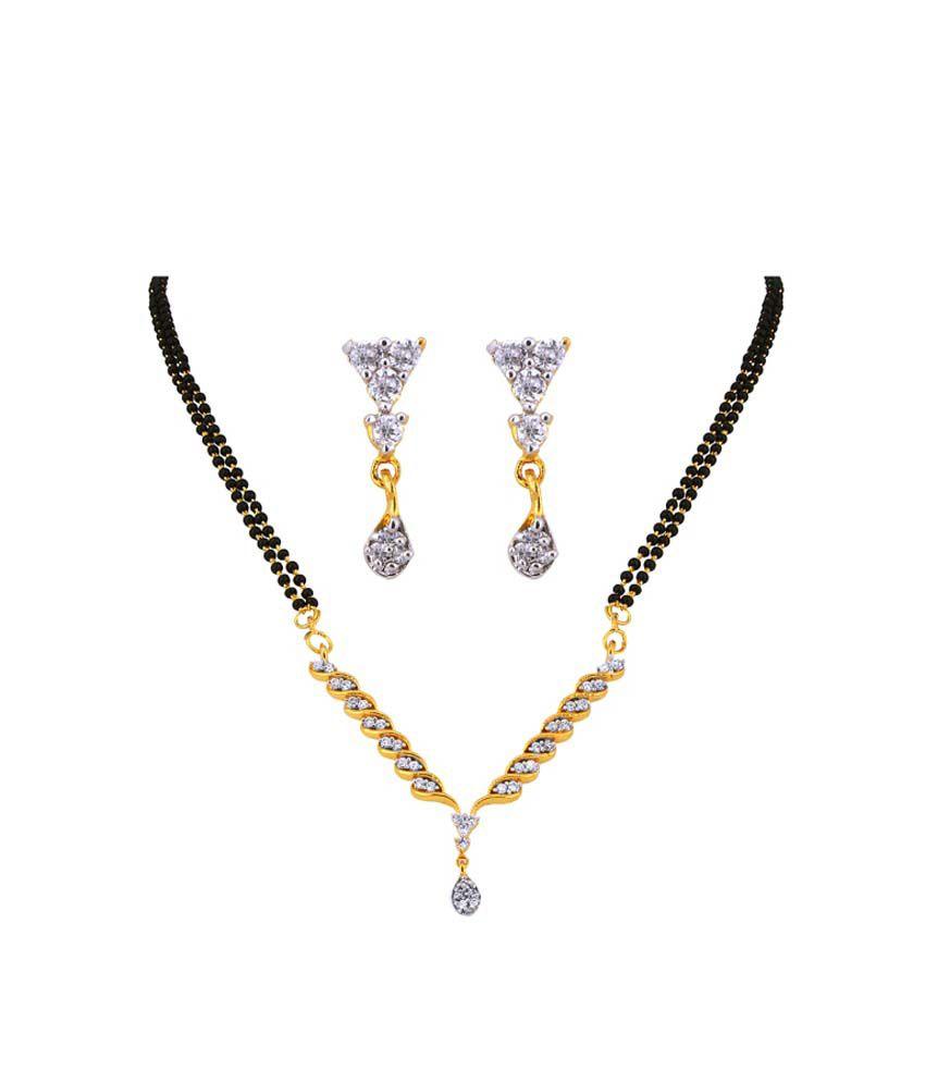 Dazzle Me Designer CZ Mangalsutra Pandel Set with Black Beads Mala