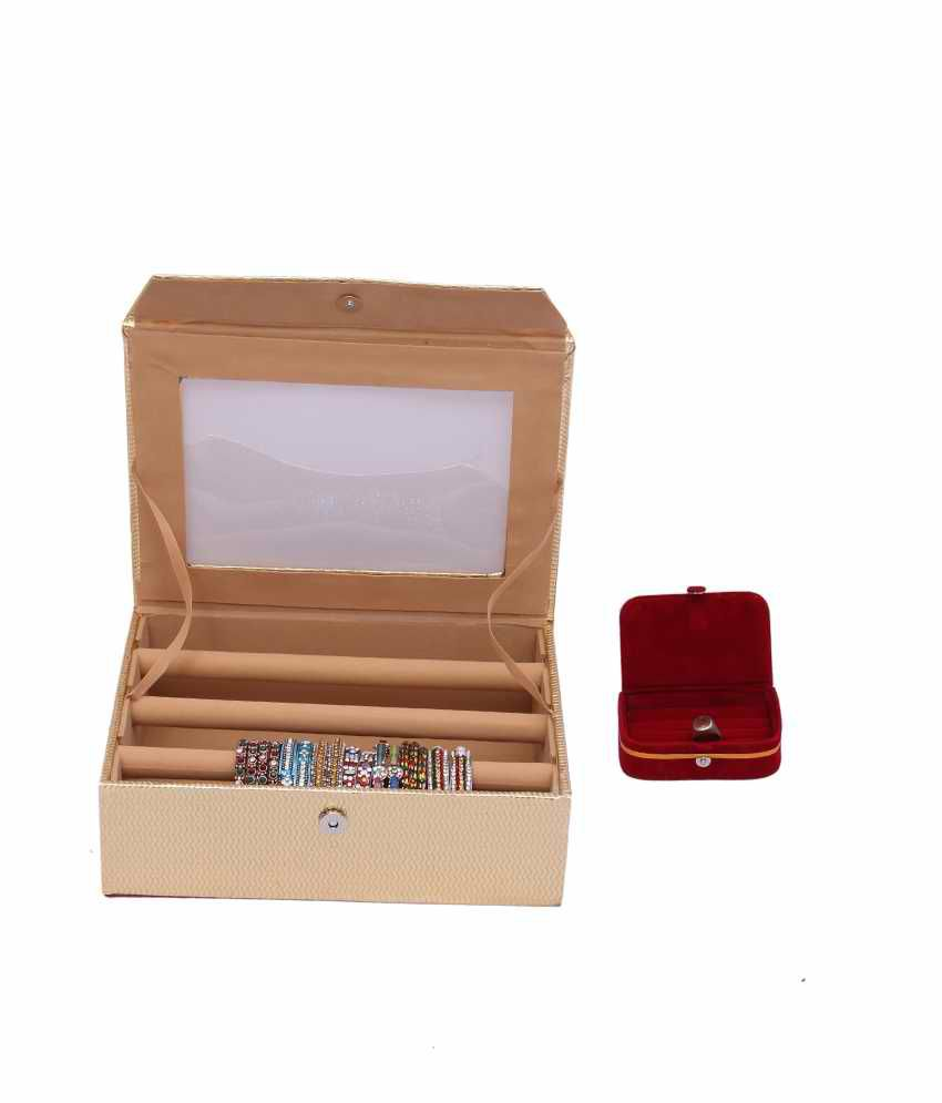 Kuber Industries Bangle Three Roll & Earing Box