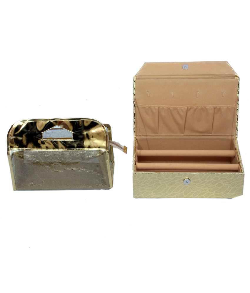 Kuber Industries Golden Bangle Box 2 Rod & Vanity Box - Combo Of 2