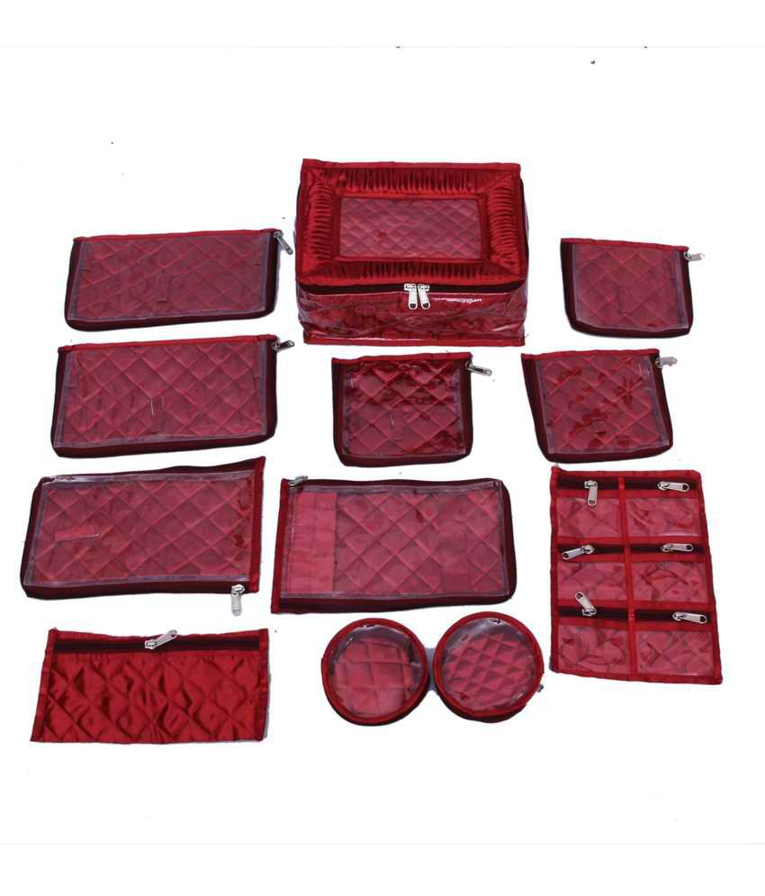 Kuber Industries Jewellery Kit Locker With 12 Pouches Maroon Satin