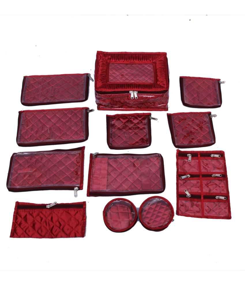 Kuber Industries Jewellery Kit Locker With 12 Pouches Maroon Satin