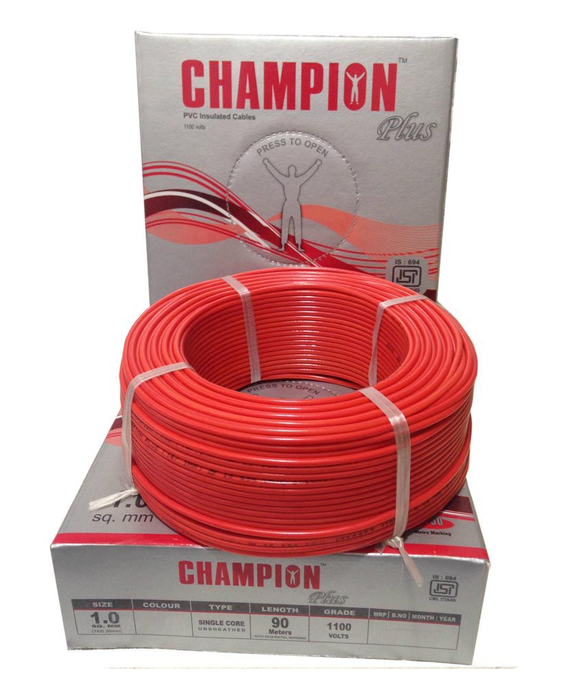 Buy Champion Plus Electric House Copper Wires 10 Sq Mm And Colour For Electrical Wiring Cables Red Color