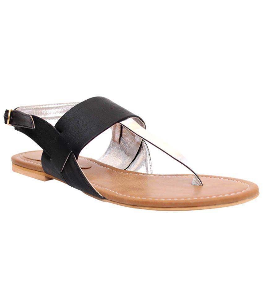 Klaur Melbourne Black & Silver Sandals for Women