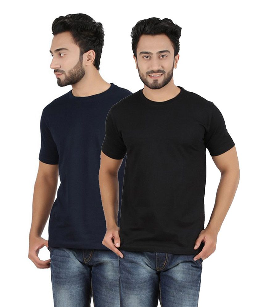 Pulse Navy & Black Round Neck Cotton T-Shirt (Pack of 2)