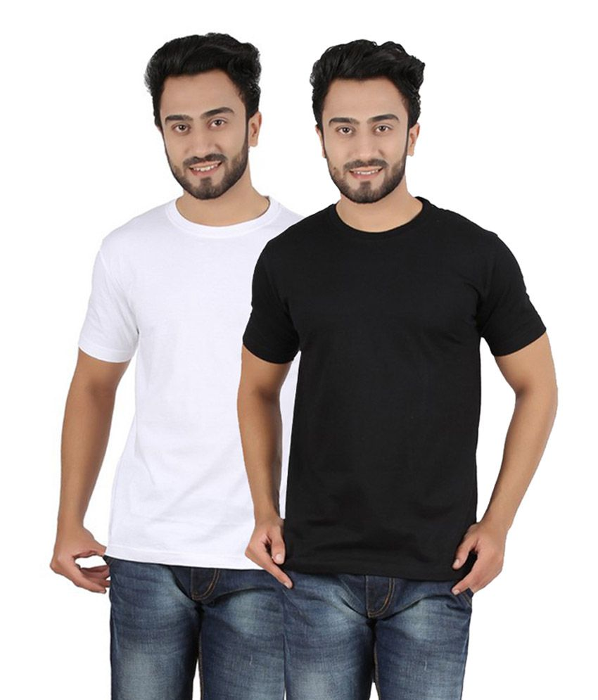 Pulse Navy & White Round Neck Cotton T-Shirt (Pack of 2)