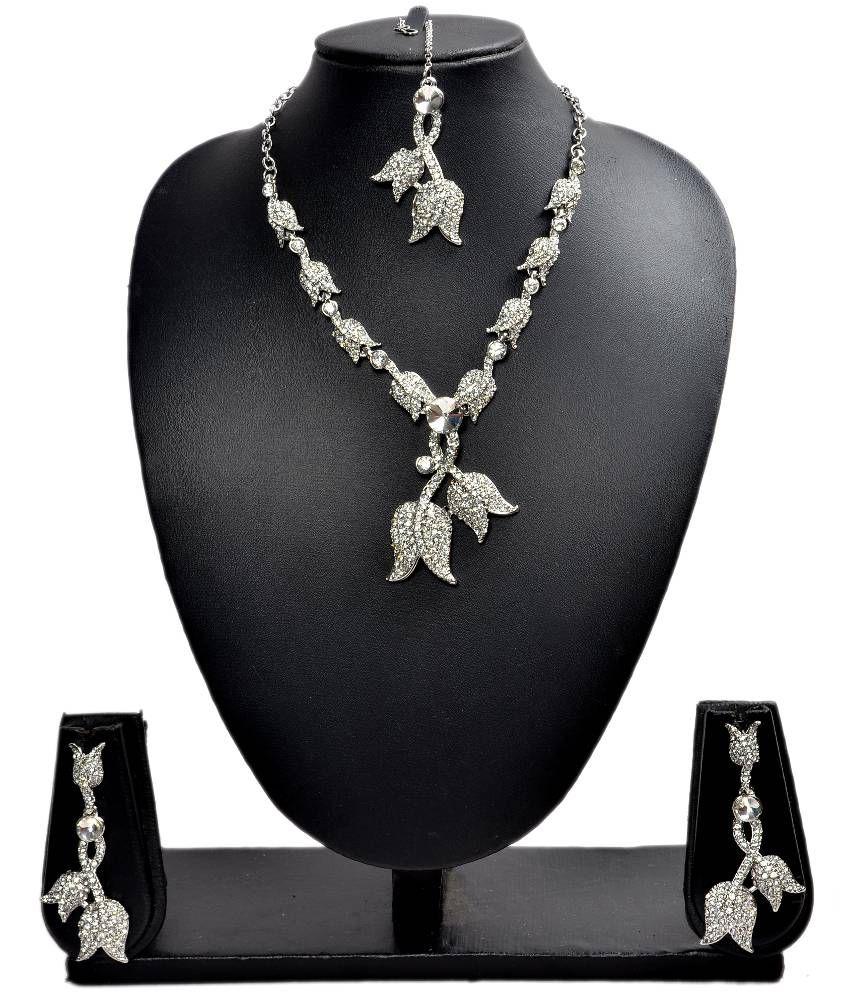 Akshada Creation Necklace Set - Silver