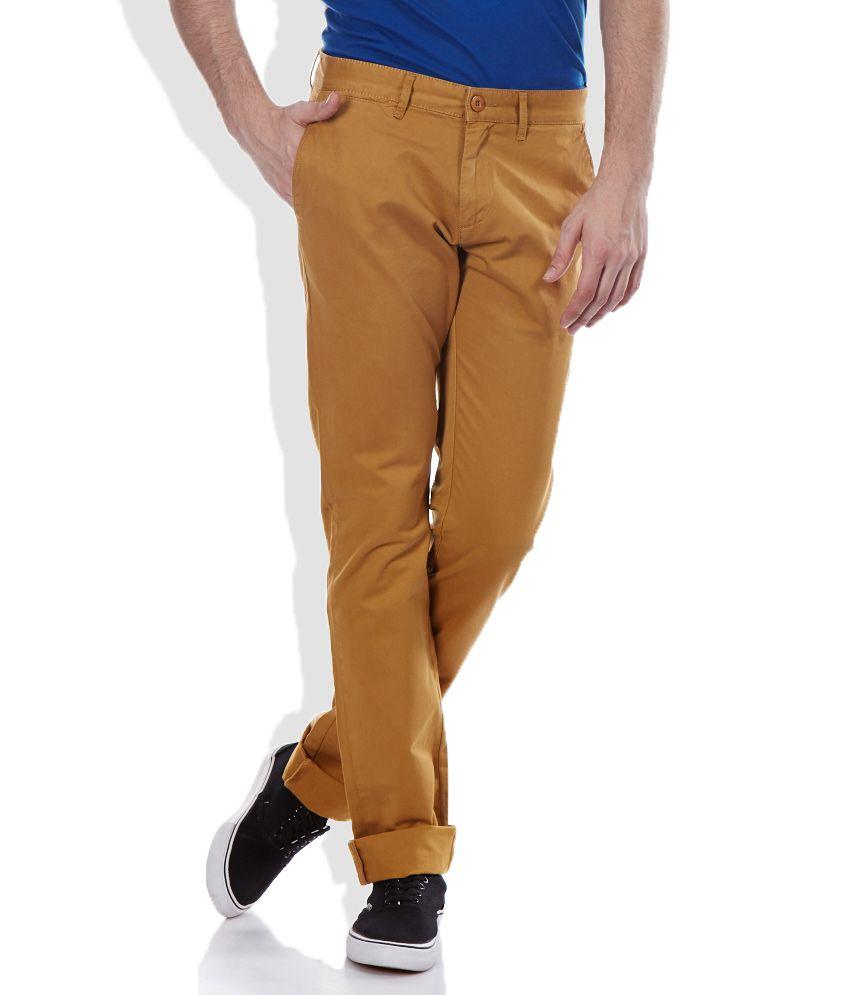 Celio Beige Slim Fit Trousers