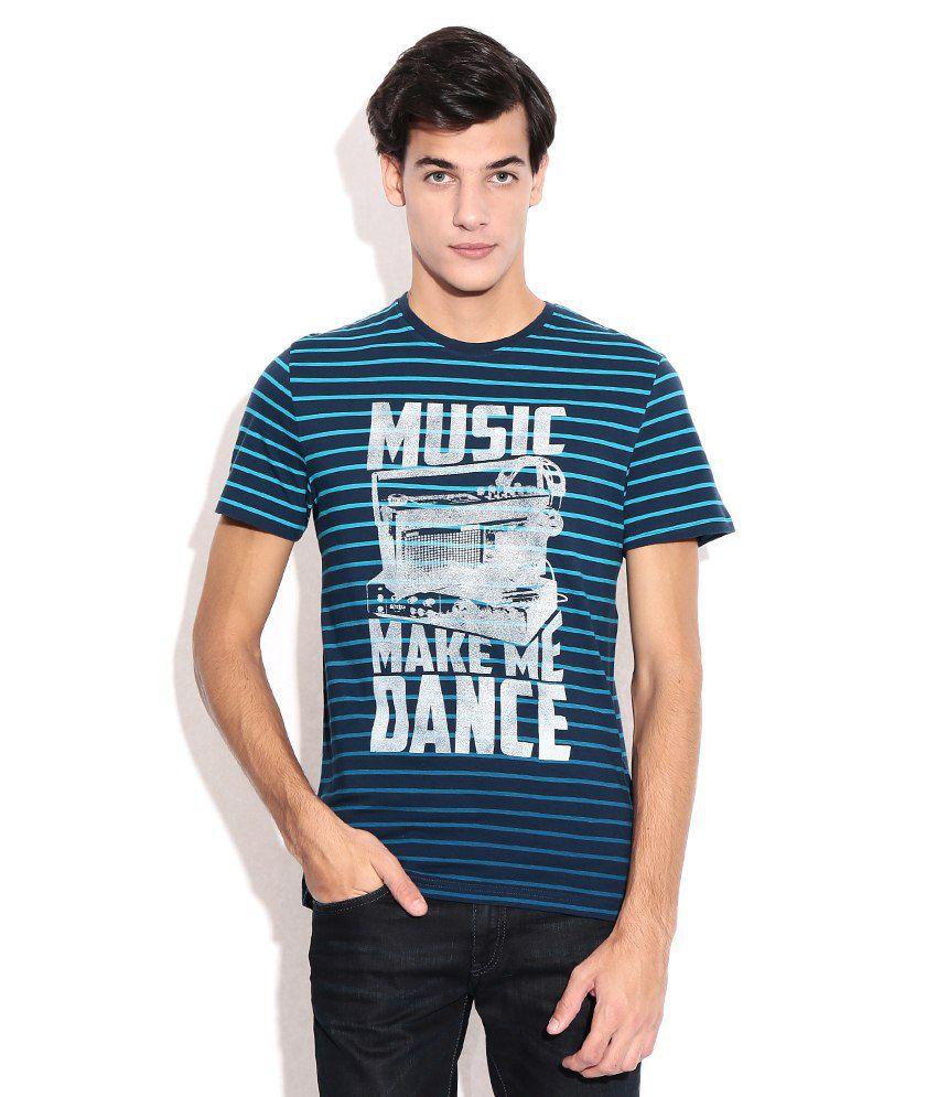 Celio Blue Cotton Round Neck T-shirt