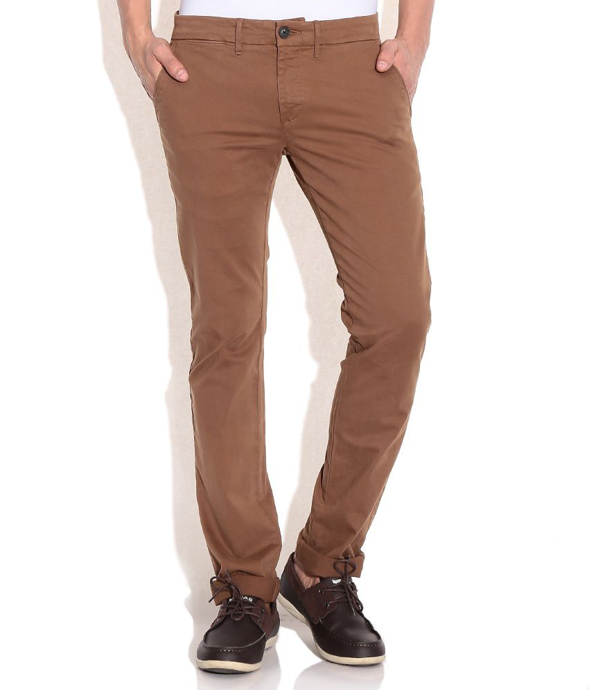 Celio Brown Straight Fit Chino Trousers
