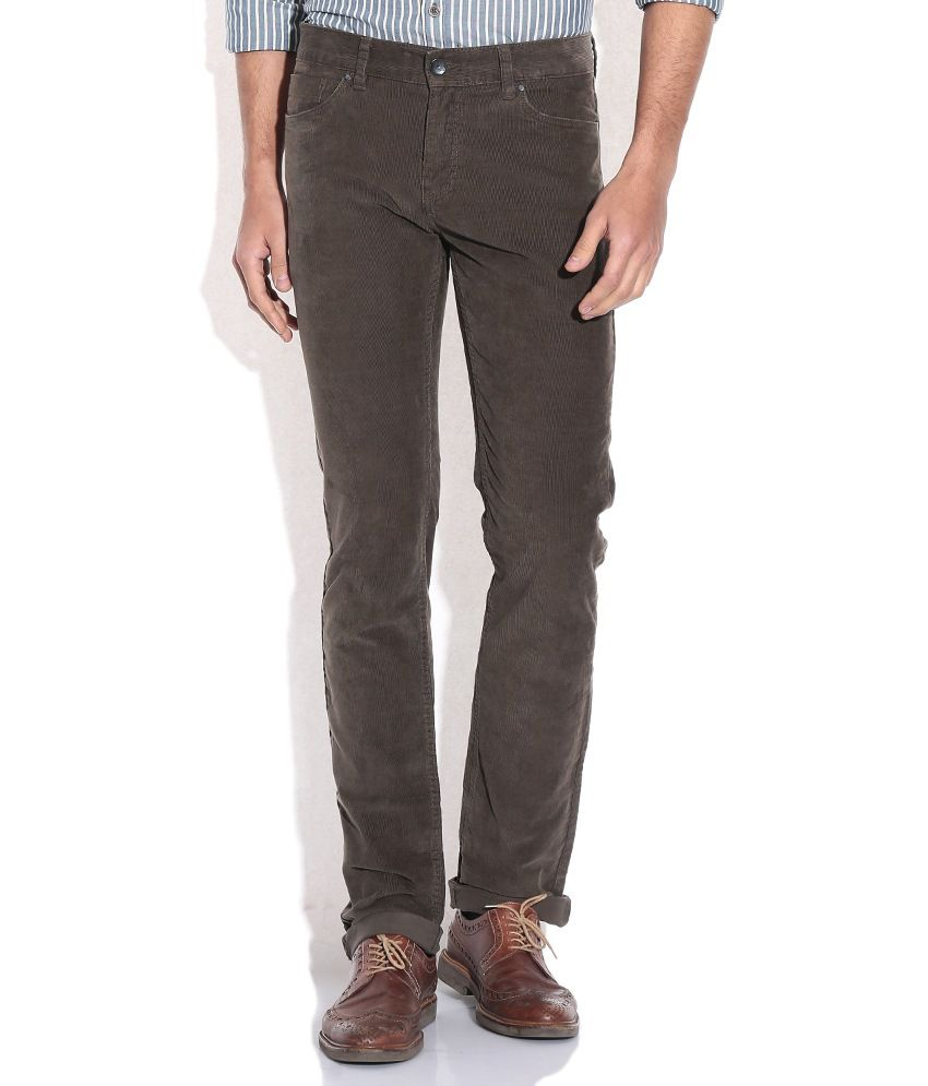 Celio Khaki Slim Fit Casual Trousers