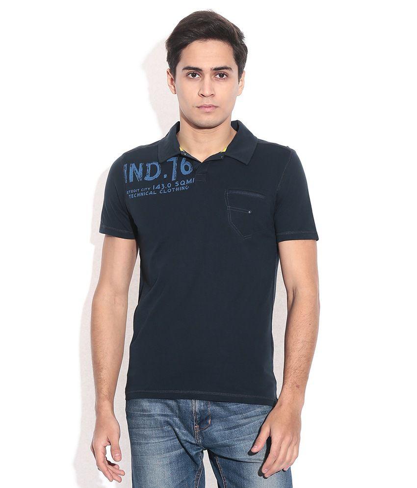 Celio Navy Cotton Polo Neck T-shirt