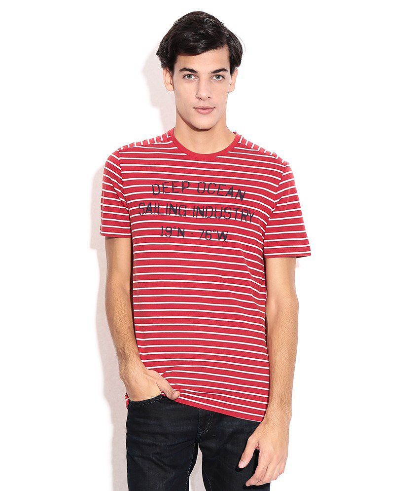 Celio Red Round Neck T-shirt
