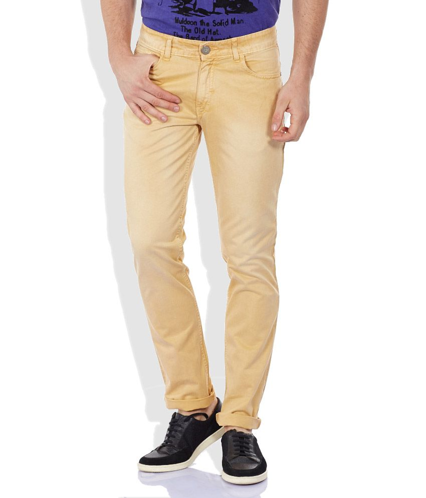 John Players Beige Slim Fit Trousers