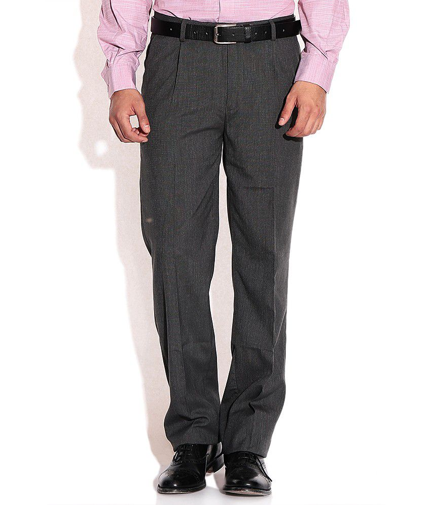 John Players Gray Slim Fit Formal Trousers