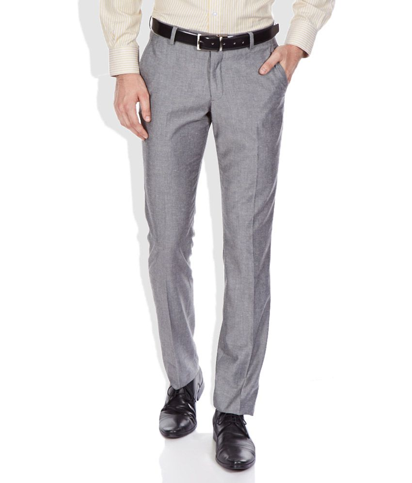 John Players Gray Slim Fit Trousers
