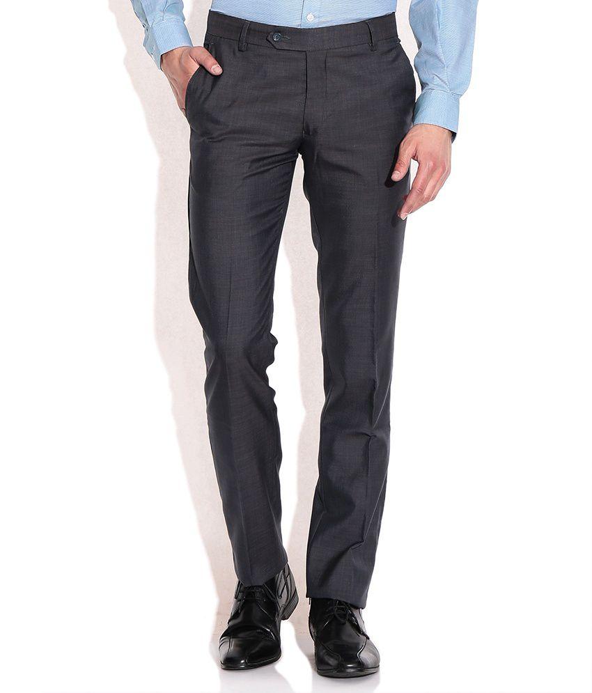 John Players Gray Slim Fit Formal Trousers