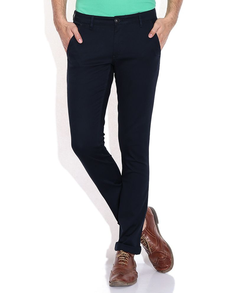 John Players Navy Slim Fit Trouser