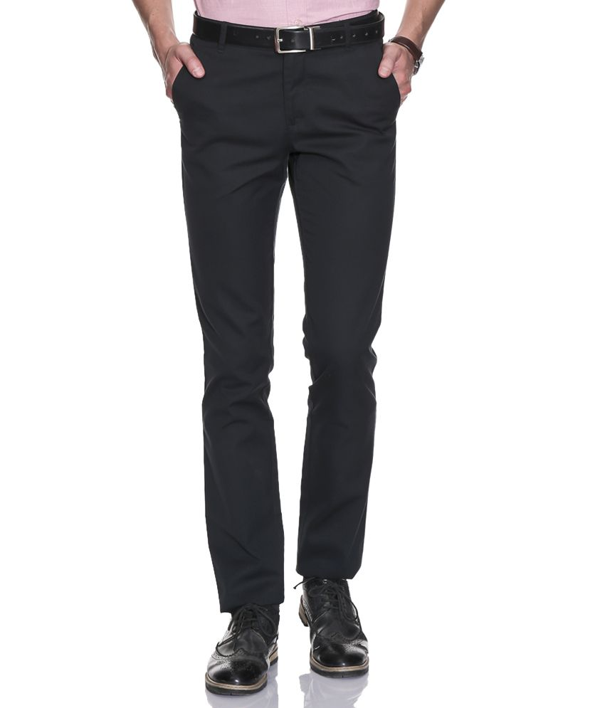 John Players Navy Slim Formals Trousers & Chinos