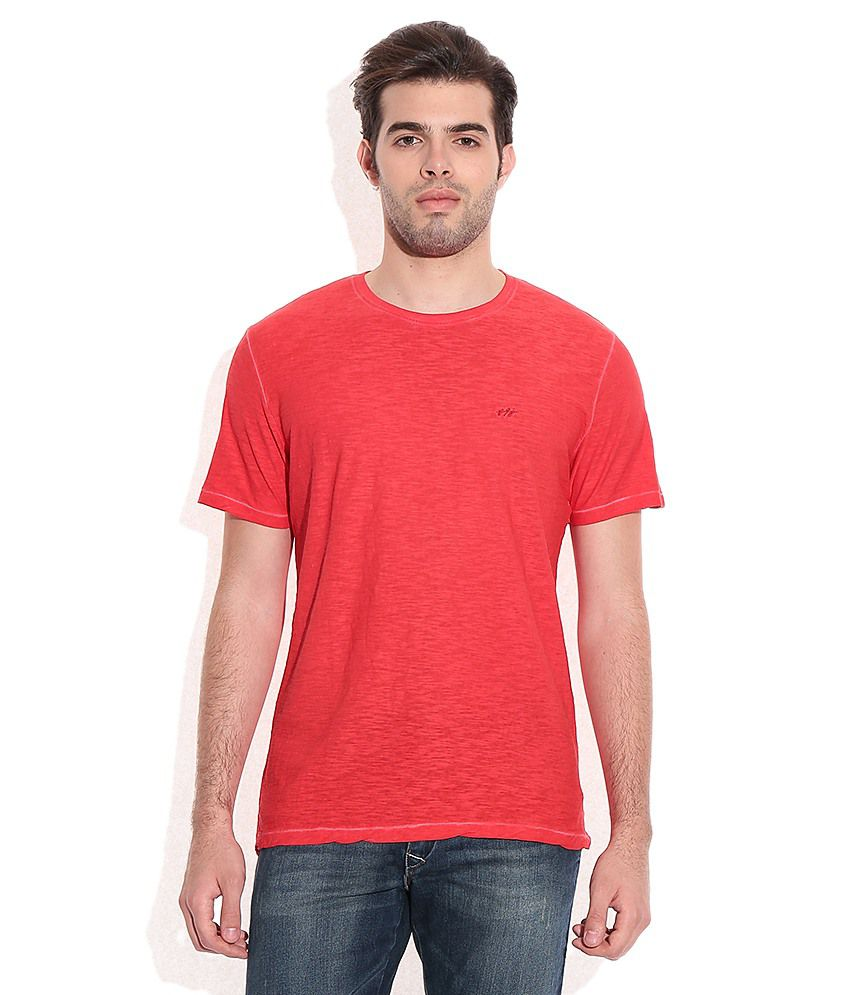 John Players Red Cotton Round Neck T-Shirt