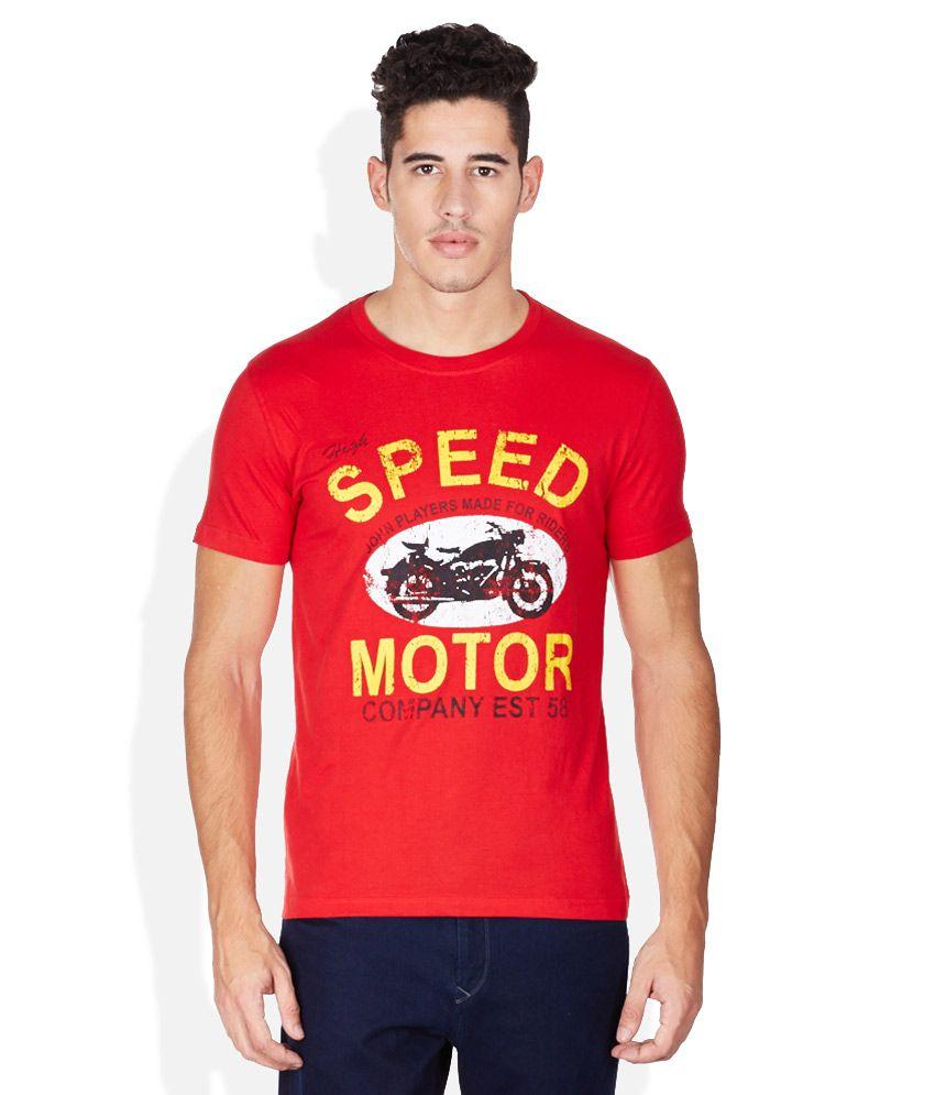 John Players Red Round Neck T Shirt