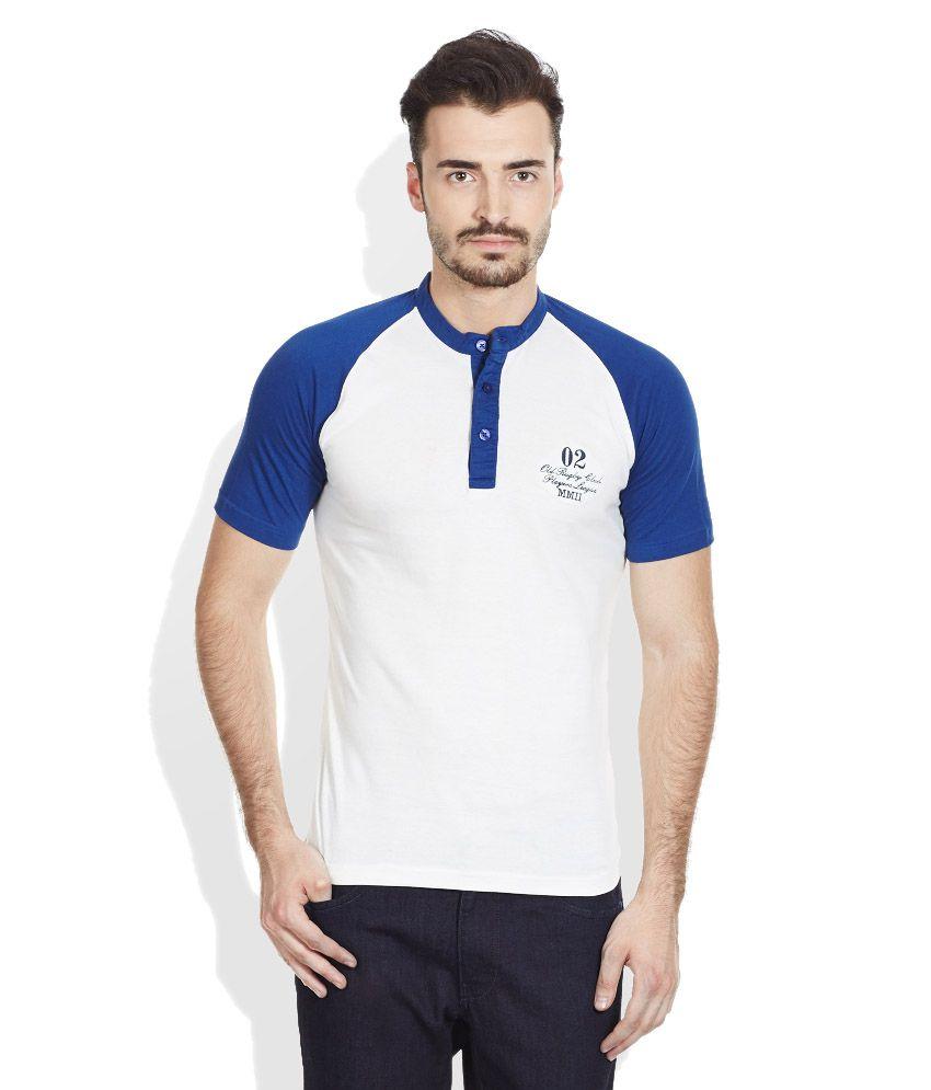 John Players White Henley Neck T Shirt