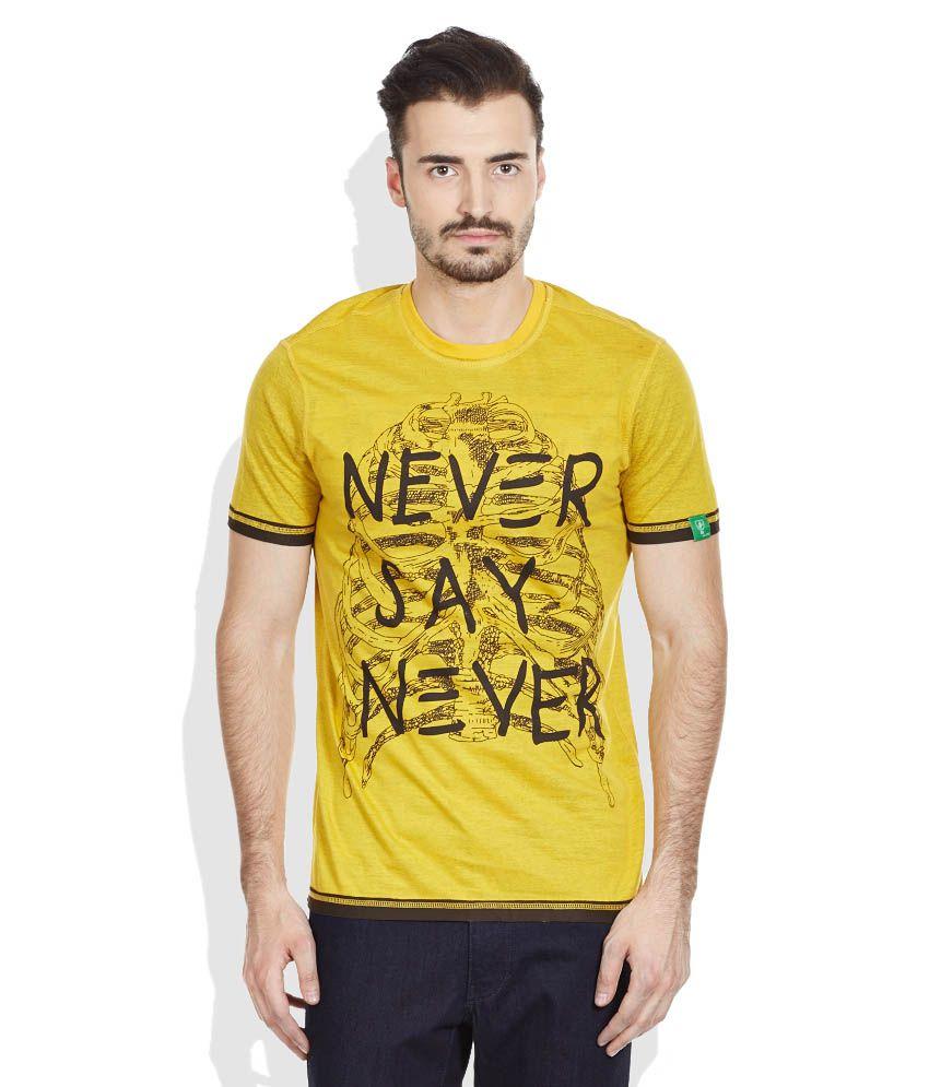 John Players Yellow Round Neck T Shirt