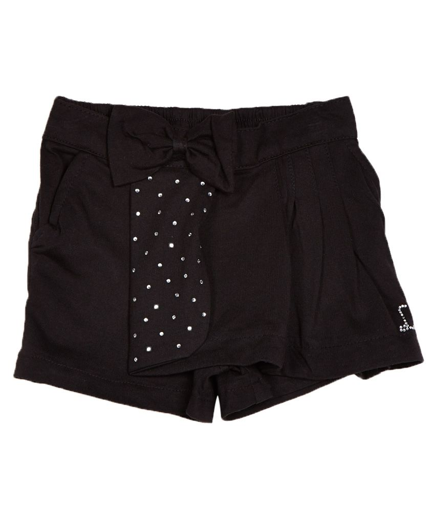 Little Kangaroos Black Cotton Blend Shorts