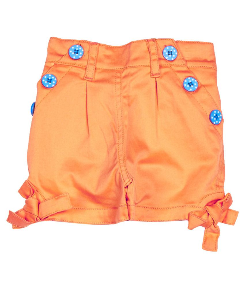 Little Kangaroos Orange Cotton Blend Shorts