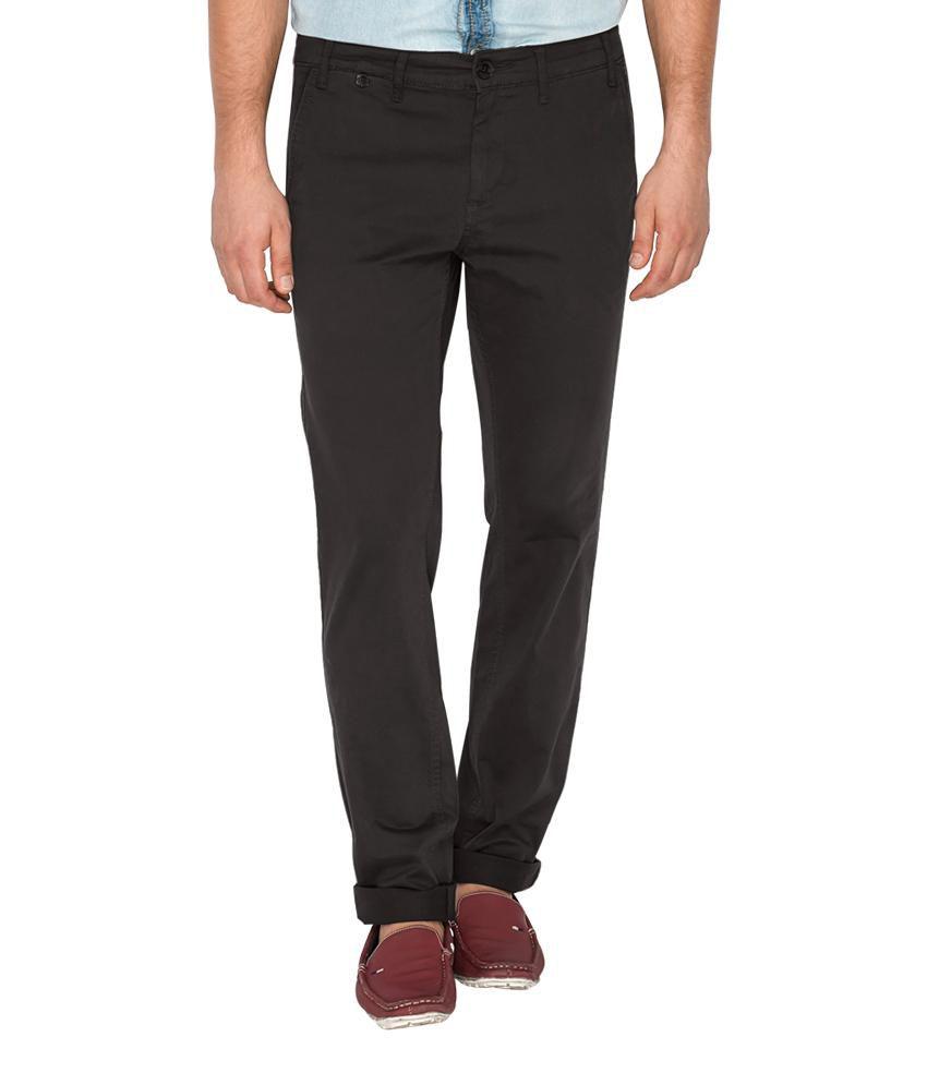 Mufti Black Slim Flat Trouser