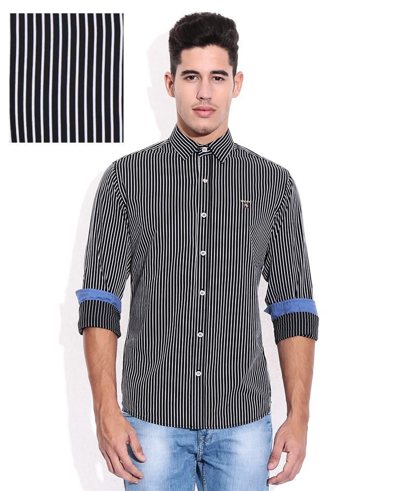 adcc3336 Mufti Black Vertical Striped Shirt - Buy Mufti Black Vertical Striped Shirt  Online at Best Prices in India on Snapdeal