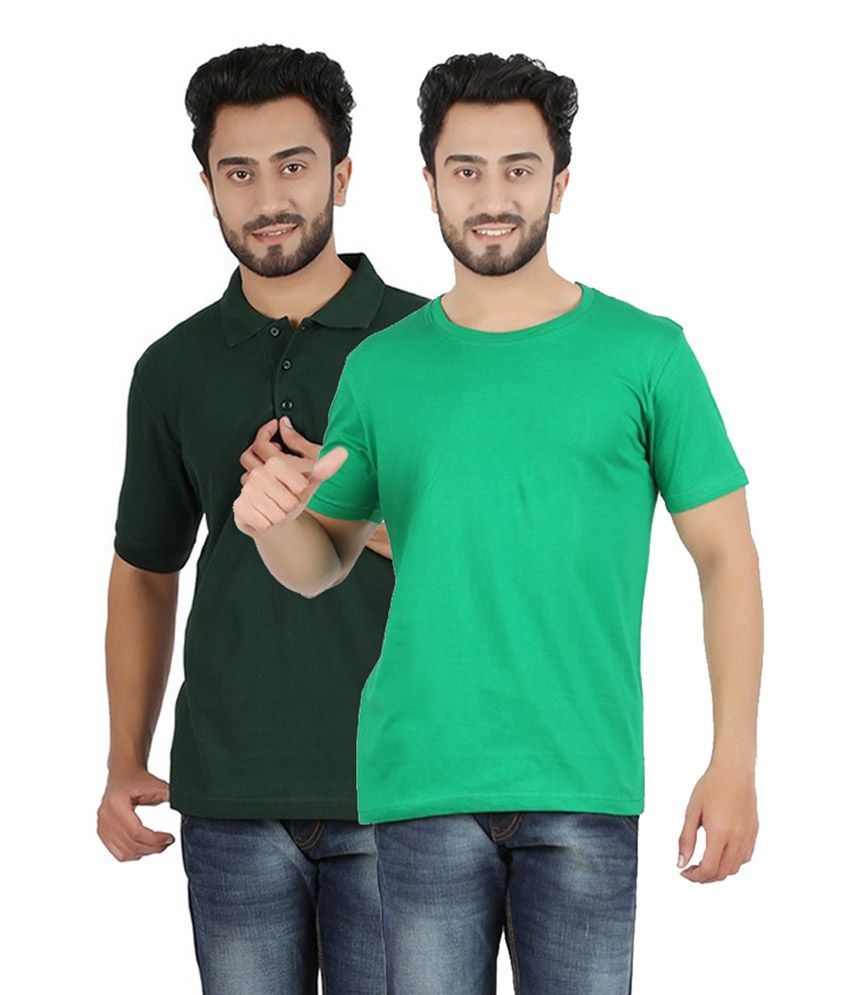 Pulse Stylish Green Cotton Men's T-Shirt (Pack of 2)