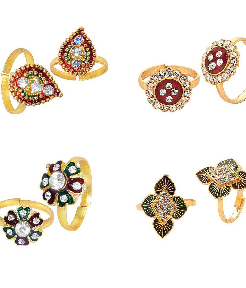 R S Jewels Gold Plated Multi Color Stone Toe Ring - Combo Of 4