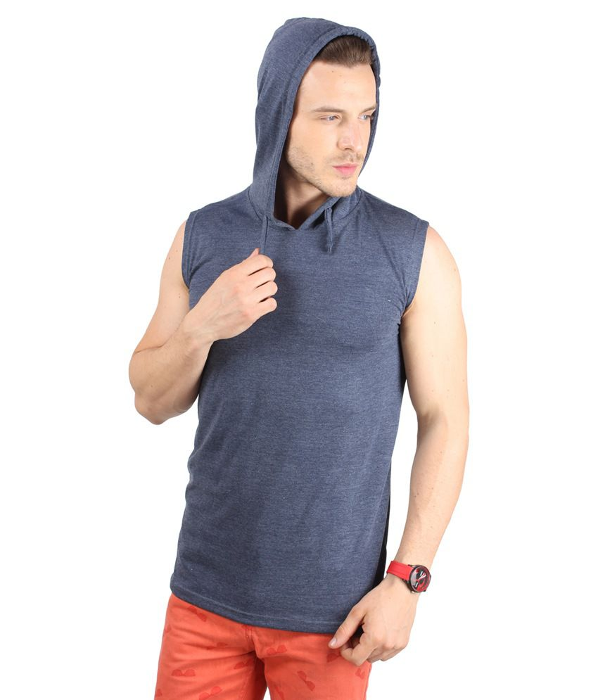Sayitloud Gray Cotton Sleeveless Hooded T-Shirt