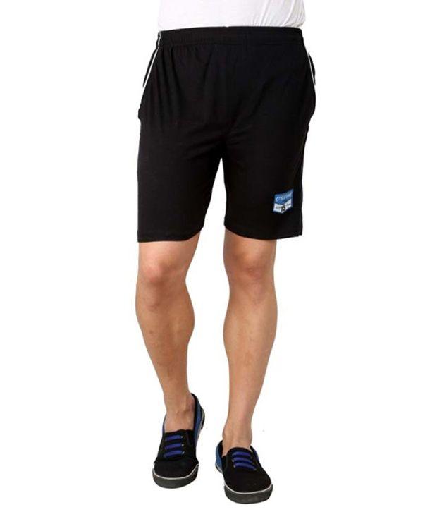 Style Guns Black Cotton Shorts