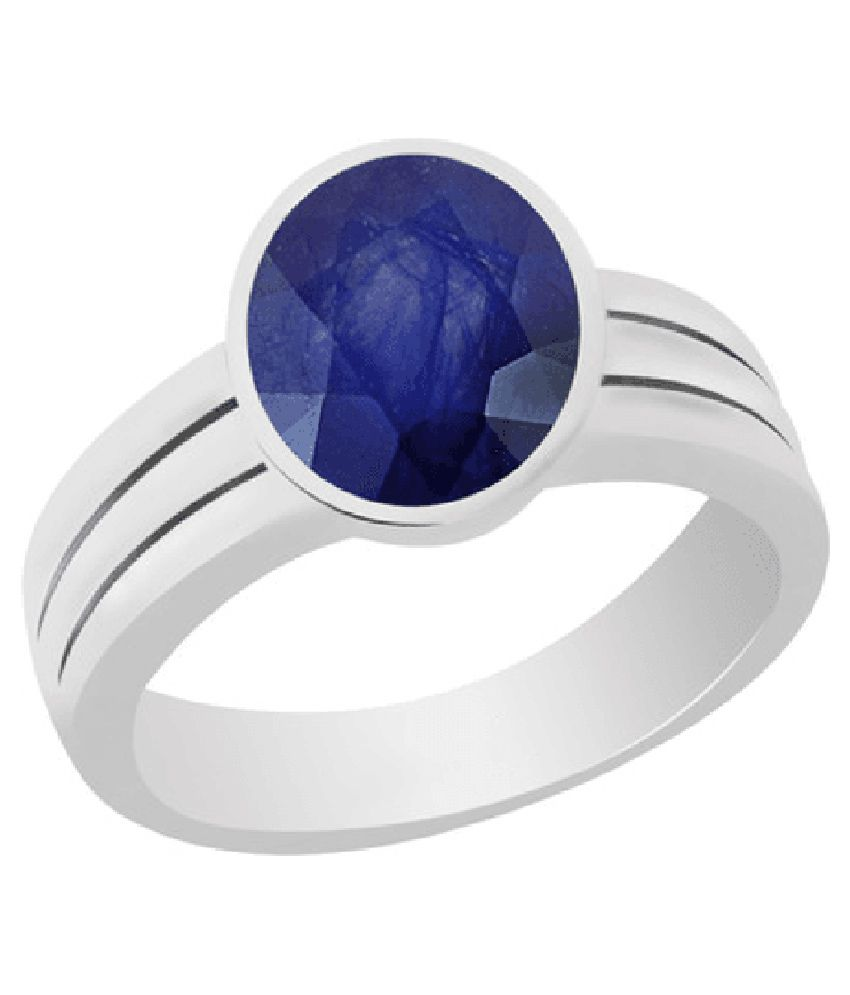 55Carat 92.5 Sterling Silver 3 Ratti Gorgeous Blue Sapphire (Neelam) Stone Silver Ring