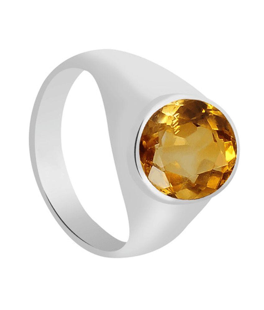 55Carat Yellow Silver 6 Ratti Citrine Ring