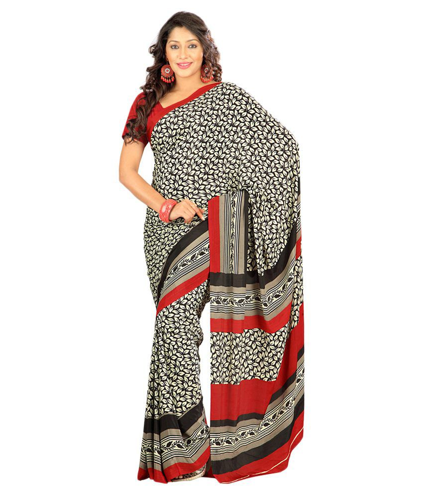 Lookslady Printed Beige & Black Crepe Saree With Blouse Piece