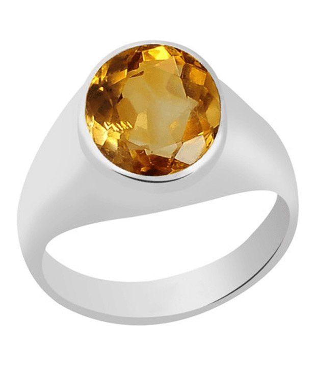 55Carat 92.5 Sterling Silver Yellow Citrine Ring