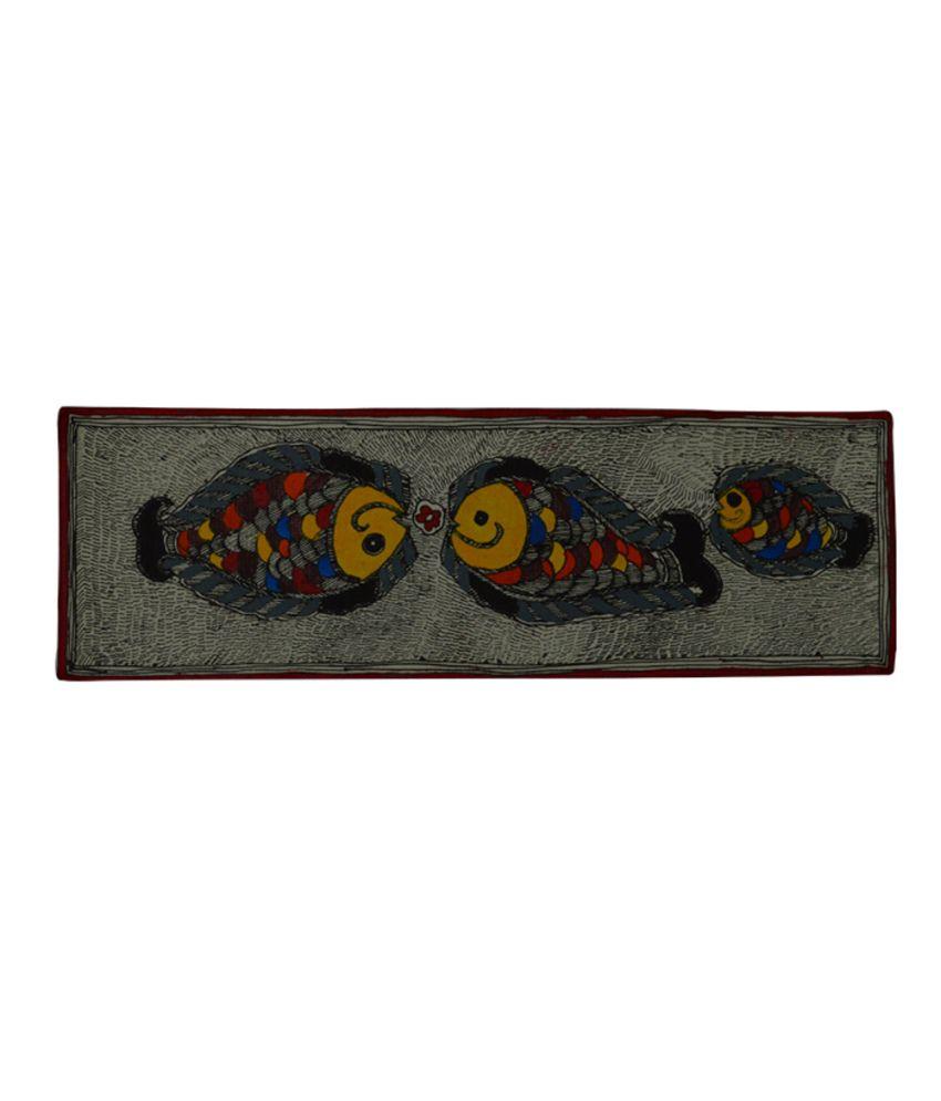 Craftuno Traditional Madhubani Painting Depicting A Pair Of Fish
