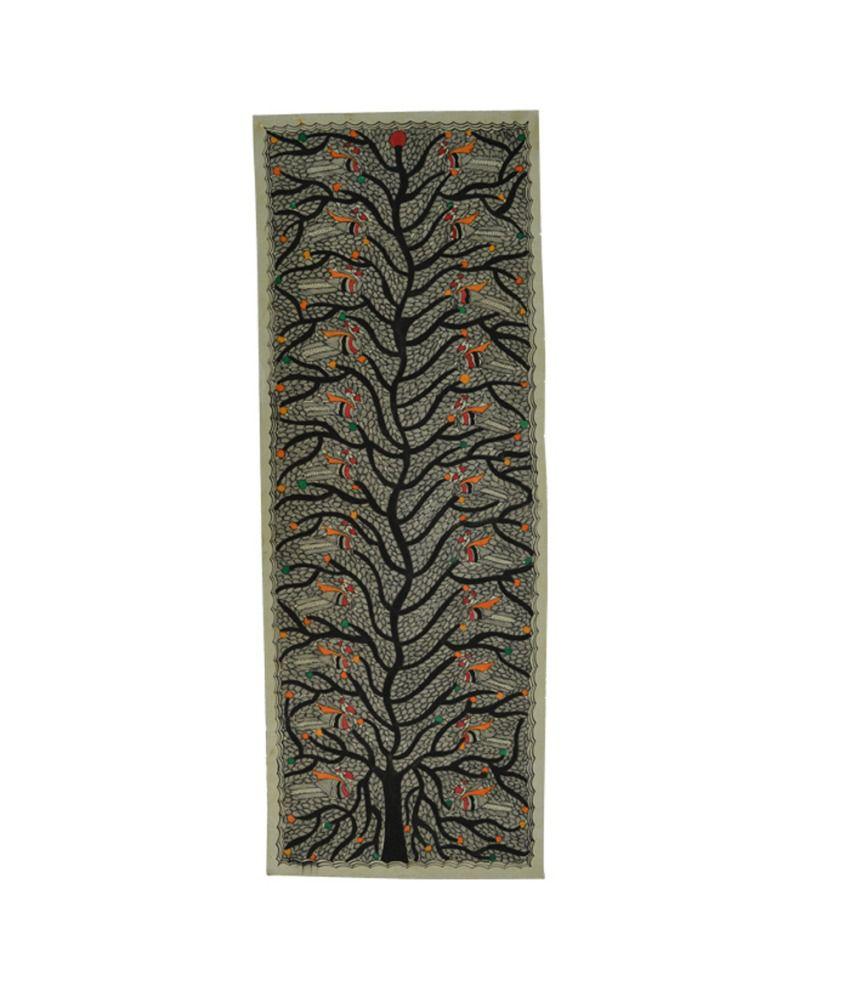 Craftuno Traditional Madhubani Painting Depicting Tree Of Life