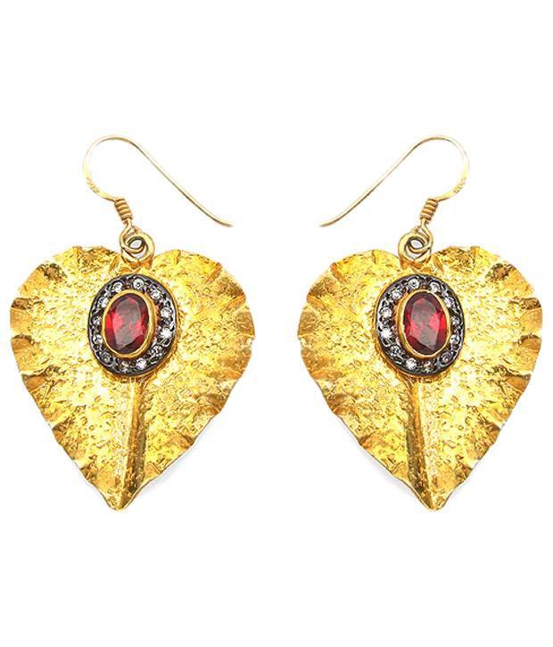 Johareez 92.5 Sterling Silver Garnet Hanging Earrings