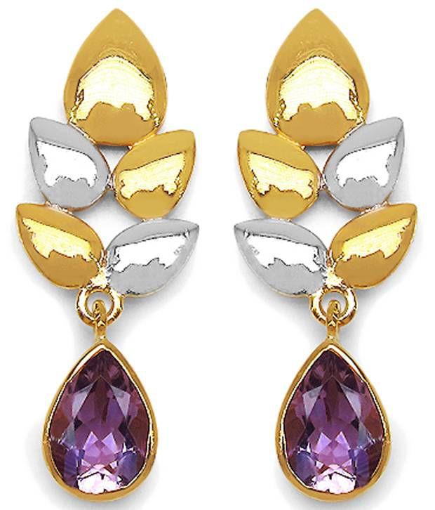 Johareez 92.5 Sterling Silver Amethyst Drop Earrings