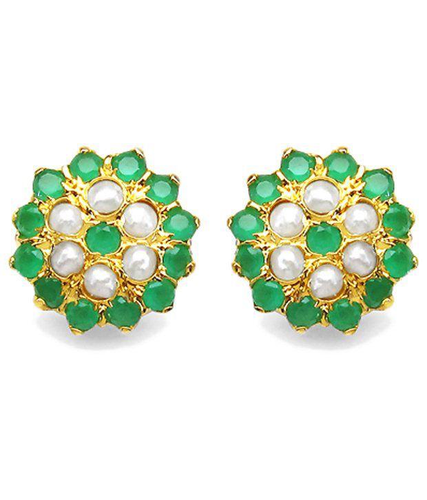 Johareez Fashionable Gold Plated Glass Stud Earrings